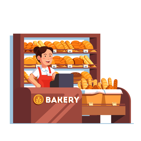 Local business owner working as cashier clerk at her bread bakery store at checkout counter desk. Showcase full products. Retail business. Flat style vector illustration isolated on white background.