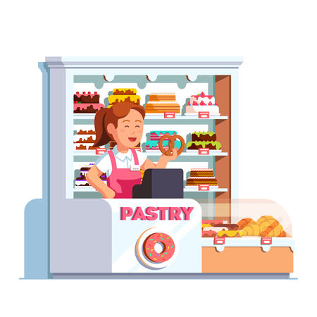 bake sale: Local business owner working as cashier at pastry store showing pretzel in hand at bakery checkout counter. Showcase full of cakes, baked products. Retail business. Flat vector isolated illustration. Illustration