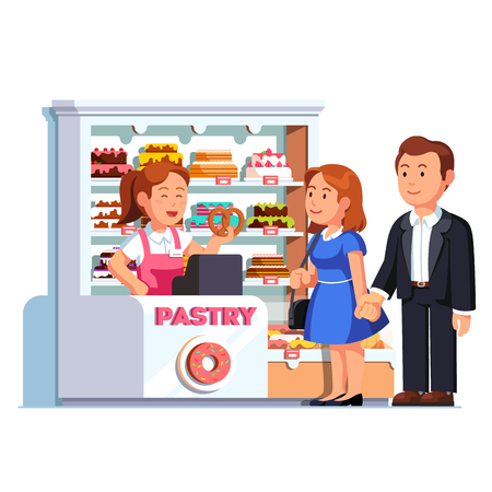 donut style: Cashier girl at pastry checkout counter serving buying customers man and woman. Showcase full of cakes and baked sweets. Local small retail business owner working. Flat vector isolated illustration.