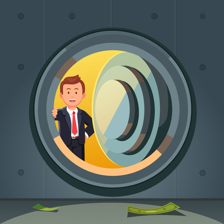 Smiling businessman in suit peeking through bank vault door. Dark and empty safe room with a few banknotes on the floor. Economic crisis or starting a business concept. Flat style vector illustration.