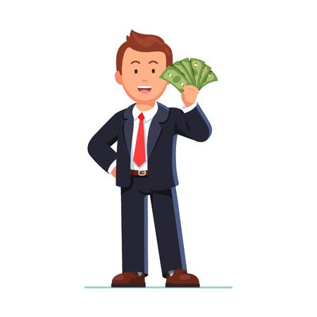 Glimlachende bedrijfsmens in bevindende de holdingsventilator van het kostuum van dollarcontante geld tonen. Gelukkige werknemer die een salaris ontvangt. Vlakke stijl vectorillustratie op witte achtergrond. Stockfoto - 83690342