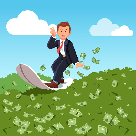 Businessman surfing financial seas. Riding dollar cash money waves on surfboard showing victory gesture. Successful trader on peak of profitability. Business success concept. Flat vector illustration.