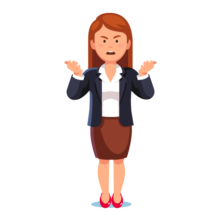 Confused, frowned business woman or boss standing shrugging shoulders complaining expressing anger and frustration yelling gesturing with her hands. Flat style vector illustration on white background.