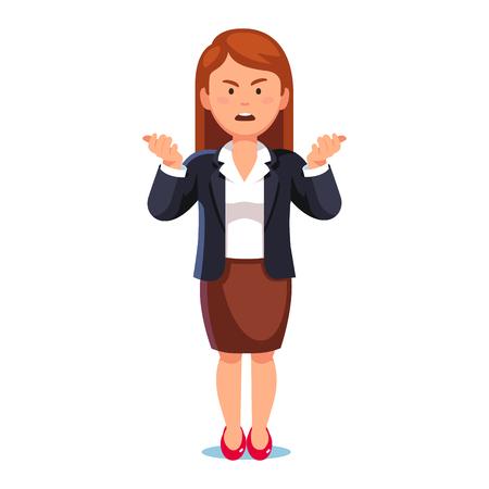 Mujer de negocios o jefe confuso, malhumorado de pie encogiéndose de hombros quejándose expresando enojo y frustración gritando gesticulando con sus manos. Ilustración de vector de estilo plano sobre fondo blanco.