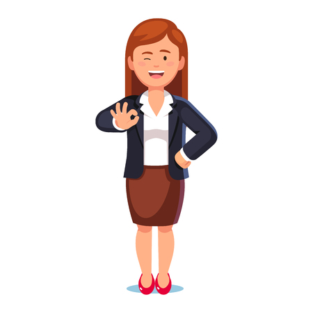 Happy smiling business woman standing showing okay sign or gesture with hand and winking. Everything is ok concept. Flat style vector illustration on white background. Çizim