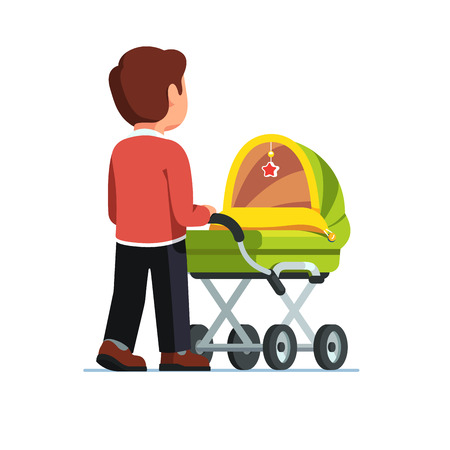 Father or dad pushing baby stroller. Babysitter man walking with kid in green pram. Child care concept. Flat style vector illustration isolated on white background. Illustration