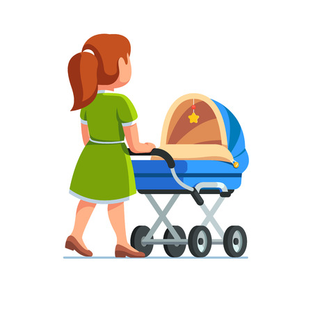 Mother in dress pushing baby stroller. Babysitter woman walking with kid in blue pram. Mom child care concept. Flat style vector illustration isolated on white background.