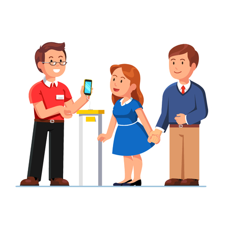 Shop assistant showing smartphone in hand to customers man, woman. Family couple buying cell phone at electronics store. Retail business. Flat style vector illustration isolated on white background.