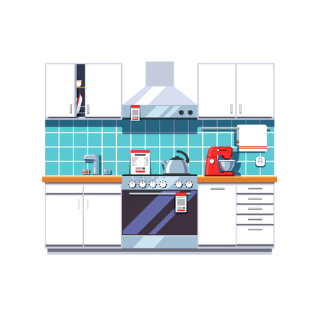 stainless: Kitchen interior with cabinets shelves, oven, cooker hood, mixer, kettle, sink tap. Home appliances or furniture store. Retail business. Flat style vector illustration isolated on white background.