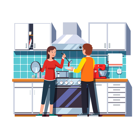 kitchen cabinets: Woman wife pouring soup with ladle into a bowl for man husband. Home kitchen interior with cabinets shelves, oven, cooker hood, mixer, pot. Flat style vector illustration isolated on white background. Illustration