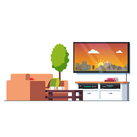 Home living room interior with coffee table, couch, tv screen and stand with blue ray player and receiver. Office waiting hall furniture. Flat style vector illustration isolated on white background. Illustration