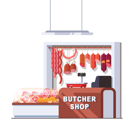 Supermarket butcher shop checkout counter and scales. Showcase full of local fresh meat products and sausages. Retail business concept. Flat style vector illustration isolated on white background.