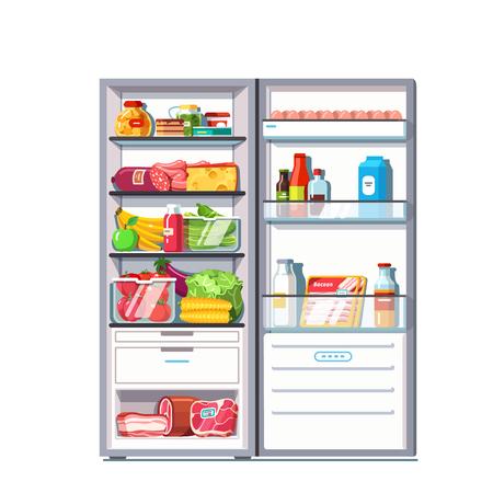 야채, 과일, 고기 및 유제품으로 가득 찬 오픈 도어 냉장고. 냉동고 냉장고. 플랫 스타일 벡터 일러스트 레이 션 흰색 배경에 고립.