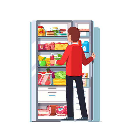 Hungry or thirsty man taking out juice bottle from refrigerator full of vegetables, fruits, meat and dairy products. Open single door fridge with freezer. Flat style vector isolated illustration
