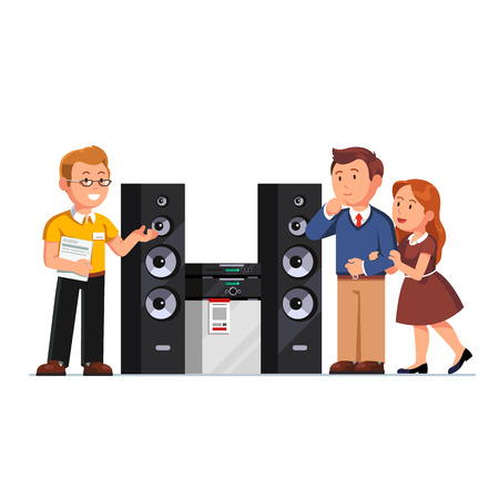 Shop assistant showing three-way hi-fi stereo system floor standing tower speakers to customers family couple at electronics retail store. Flat style vector illustration isolated on white background. Illustration