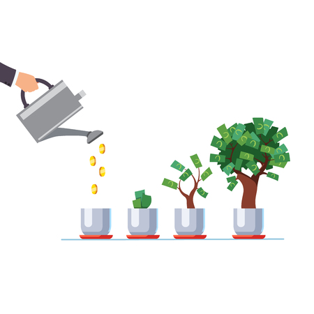 Hand with watering can pouring golden coins money Ilustração
