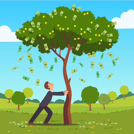 Businessman shaking tall cash tree with banknotes