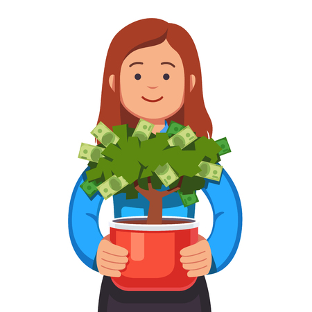 Business woman holding flower pot with money tree