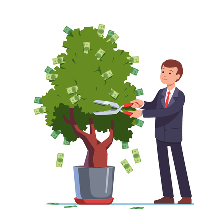 Businessman cutting money off investment tree