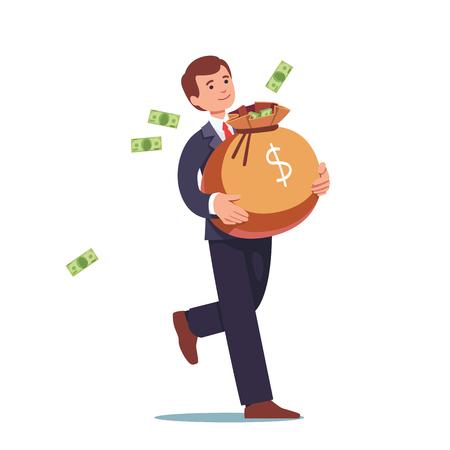 bureaucrat: Businessman carrying big sack full of cash money Illustration
