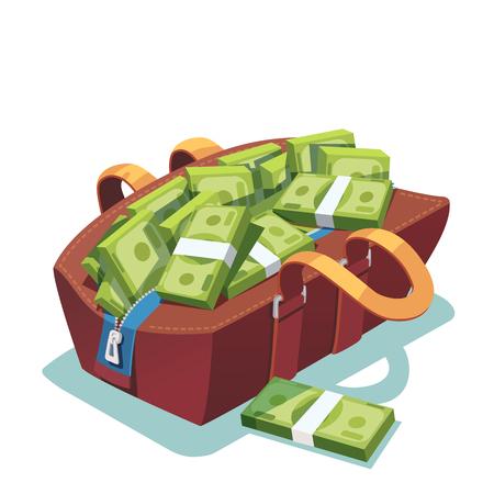 valise: Big fat opened leather bag full of cash money Illustration