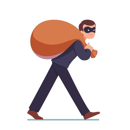 bureaucrat: Businessman in mask carrying big sack with money