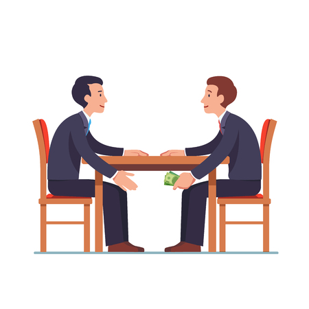 Businessman passing money under table to partner