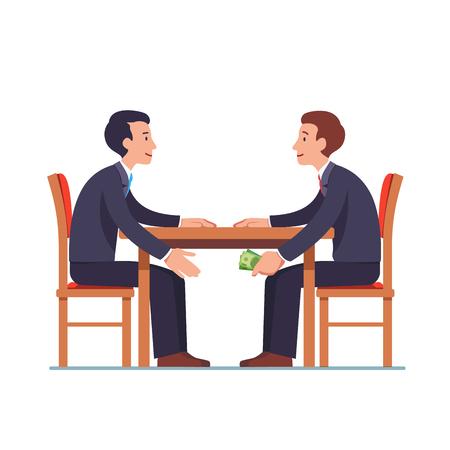 Hombre de negocios pasando dinero debajo de la mesa para asociarse Ilustración de vector