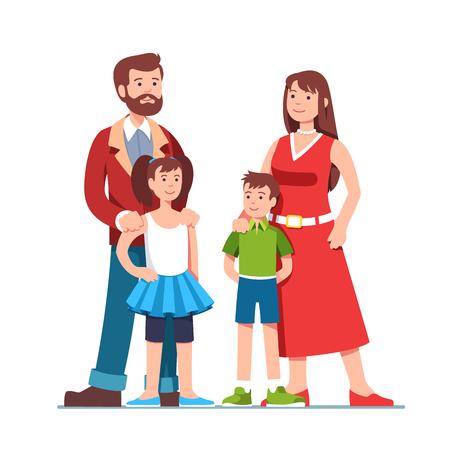 Parents standing together with children. Family Ilustração