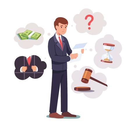 Droevige gebroken zakenman die zich met juridisch document bevindt Stock Illustratie
