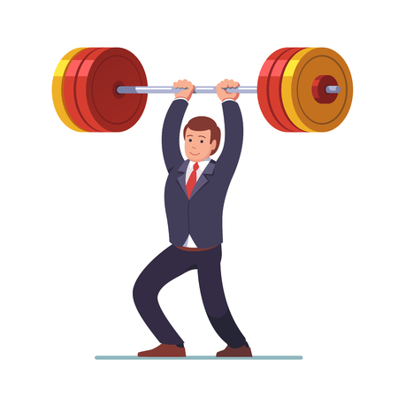 Businessman lifting big heavy barbell up over head