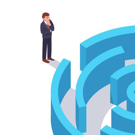 Geschäftsmann stand vor dem Labyrinth Standard-Bild - 83886888