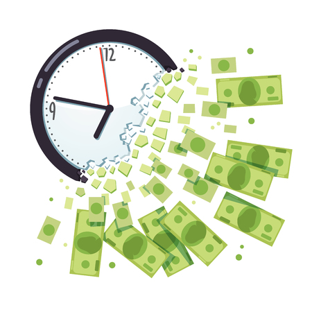 expired: Time is money concept. Clock breaking apart