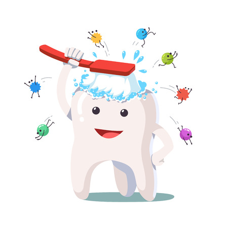Happy white tooth brushing himself with toothbrush Stock Illustratie