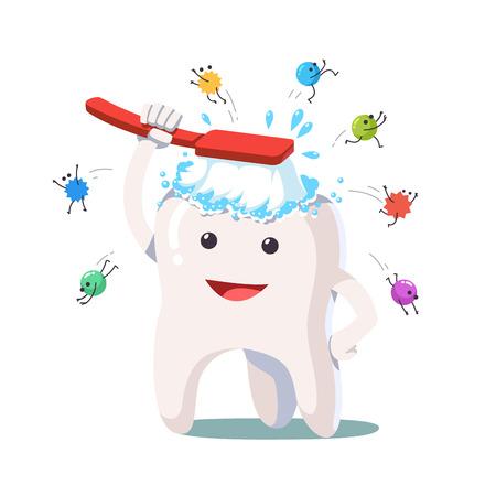 Szczęśliwy biały ząb myje się szczoteczką do zębów
