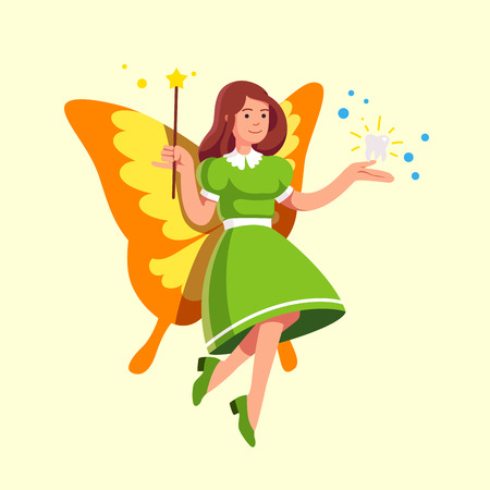 Flying tooth fairy in green dress holding magic wand in the right hand showing taken away sparkling milk baby tooth hovering in her left hand. Fantasy folklore figure. Flat style vector illustration.