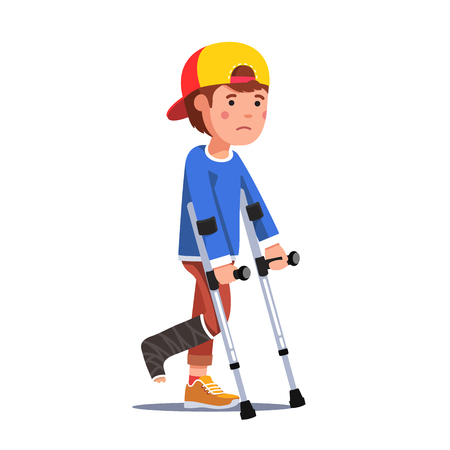 Boy with broken leg bandage walking using crutches Stock Illustratie