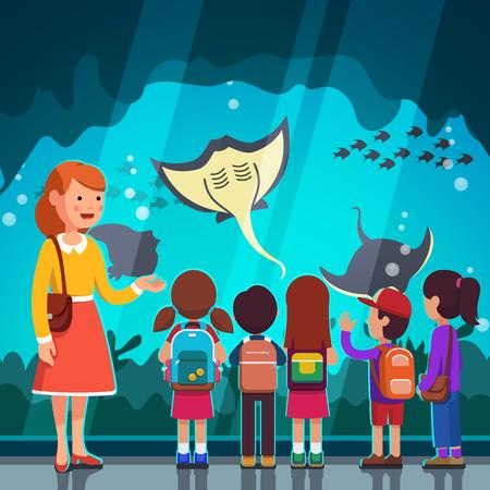 Kinderen kijken koggevis op oceanarium excursie Stock Illustratie