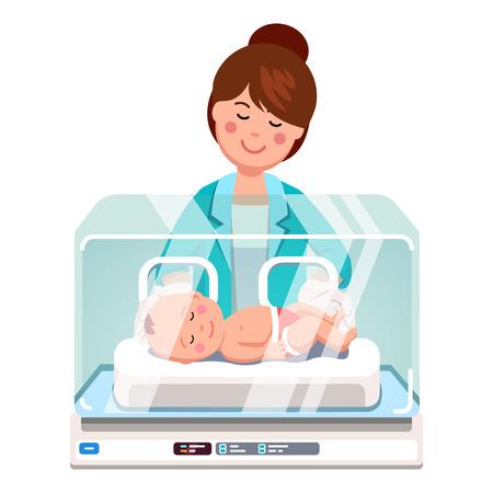 Médico pediatra mujer o enfermera examinando poco bebé recién nacido dentro de la unidad de cuidados intensivos médicos incubadora cuadro. Clínica de cuidado de niños. Ilustración vectorial de estilo plano aislado sobre fondo blanco.