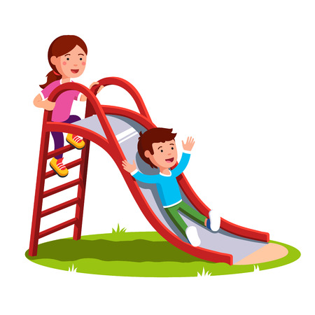 Kids playing together outside on the playground Illustration
