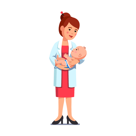 Pediatrician woman holding little baby in hands Illustration