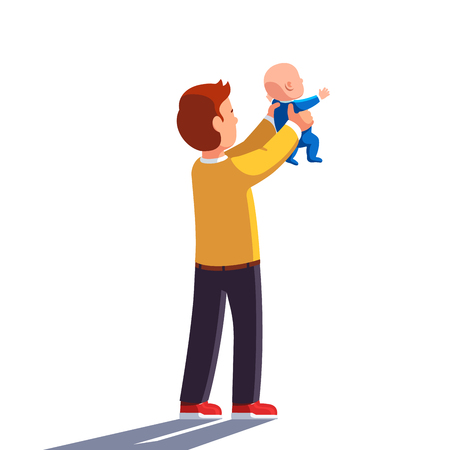 Dad holding baby son in both hands and raising him