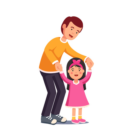 Dad walking with his daughter holding her hands Illustration
