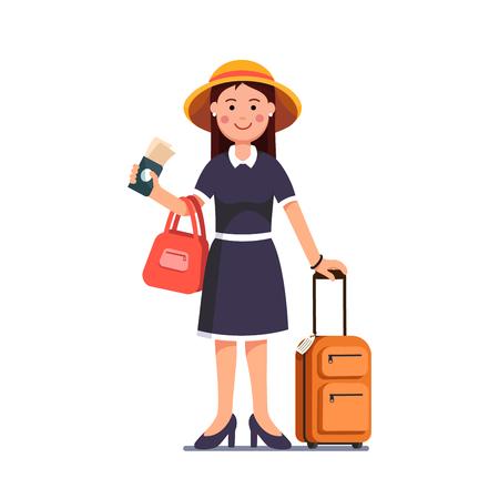 Dziewczynka podróżująca posiadająca paszport, bilety w kasie