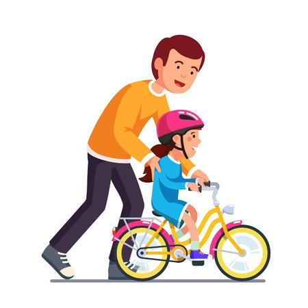 Caring dad teaching daughter to ride bike Stock Illustratie