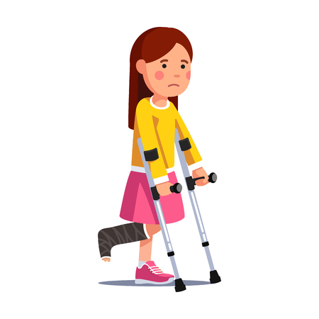 Girl with broken leg bandage walking with crutches