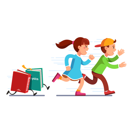 escaping: Scared school students running from books math, physics full of knowledge. Boy, girl escaping science classes. Homework textbooks chasing pupils. Education stress. Flat vector isolated illustration.