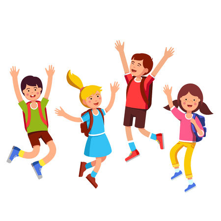 Group of student kids with backpacks jumping up with raised hands gesture. Happy children boys, girls friends celebrating last school day. Flat style vector illustration isolated on white background.