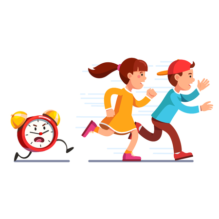 School students kids running away from alarm clock Illustration