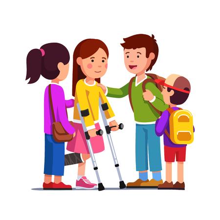 Amigos apoyando a niña con vendaje en la pierna rota Ilustración de vector